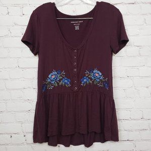 3/$18or5/$25 American Eagle Embroidered Peplum Top